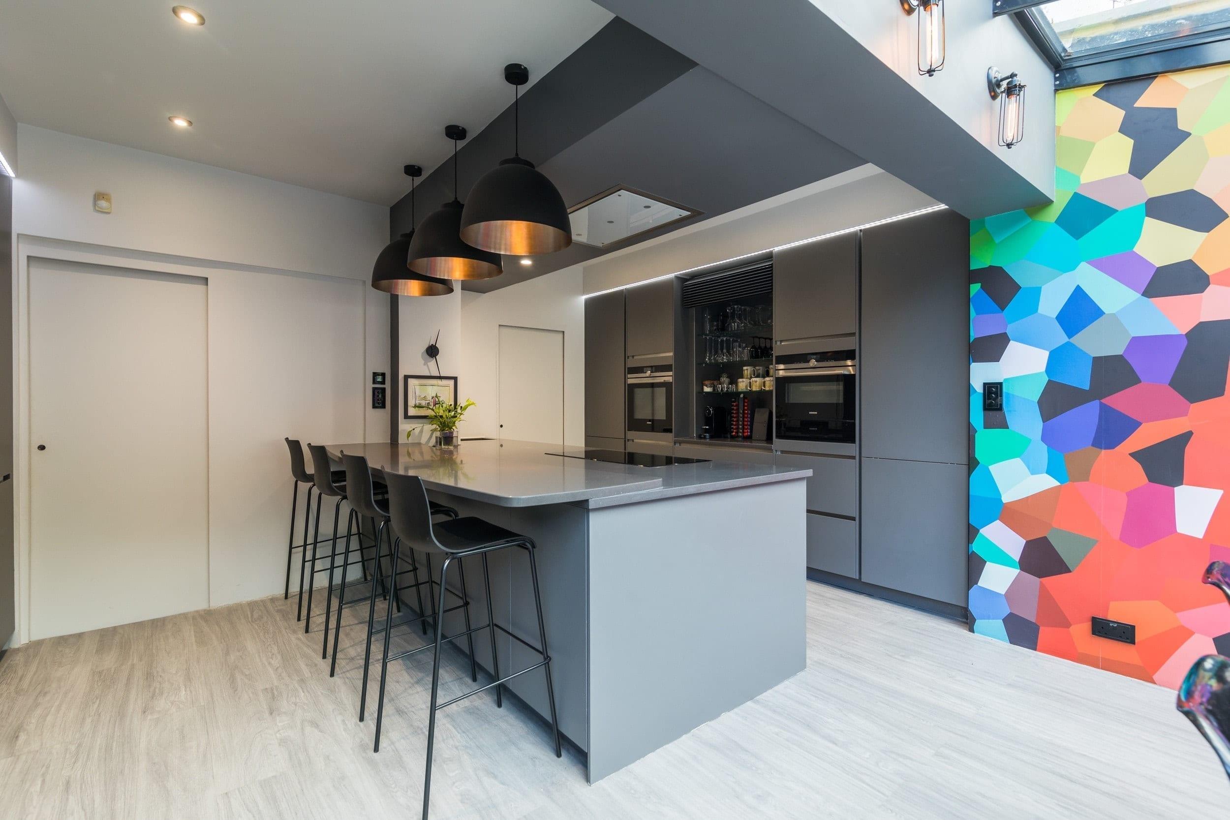 5 Handleless grey open plan kitchen - Haus12, Newcastle