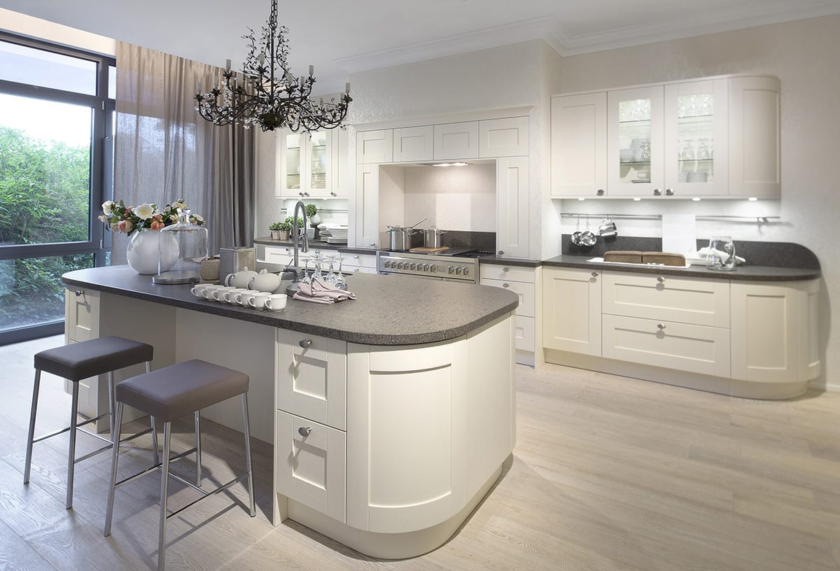 4. Cream curved Shaker kitchen with island - Haus12, Newcastle