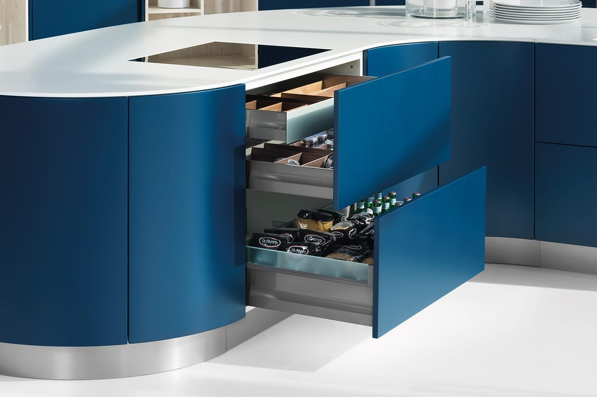 5. Curved midnight blue matt satin lacquer kitchen units - Haus12, Newcastle