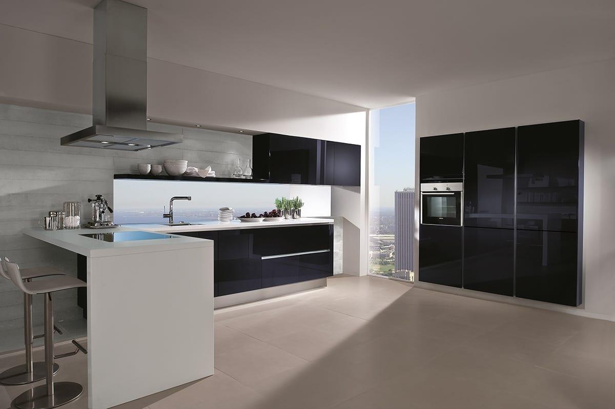 7. Blackberry high gloss glass kitchen with breakfast bar 1200 - Haus12, Newcastle