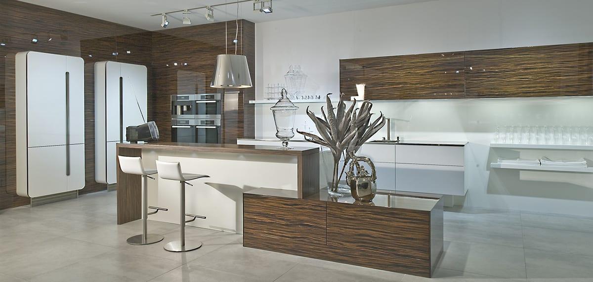 Macassar Ebony gloss veneer kitchen with white design glass 1200 - Haus12, Newcastle